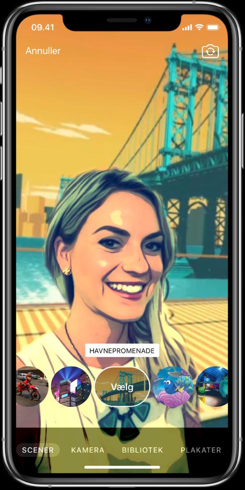 En selfiescene i fremviseren.