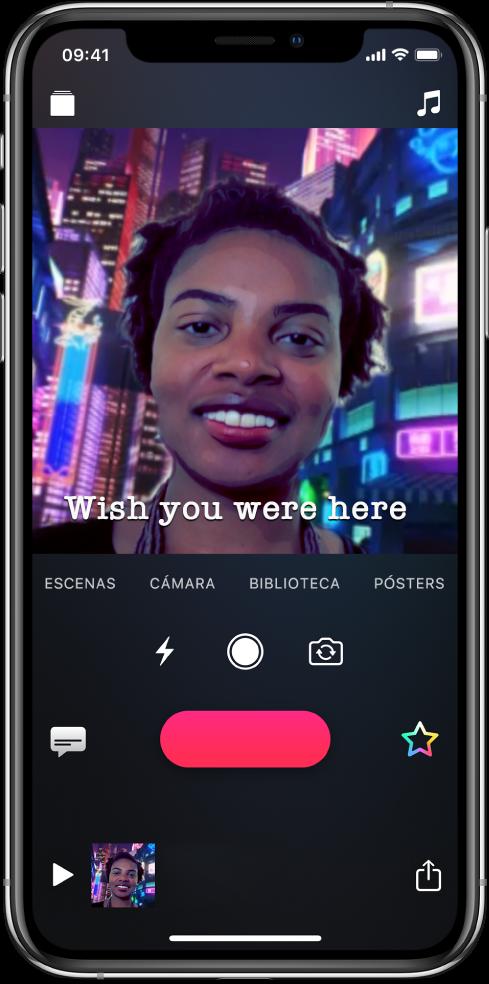 Una escena de selfie en el visor con un Live Title en la parte inferior.