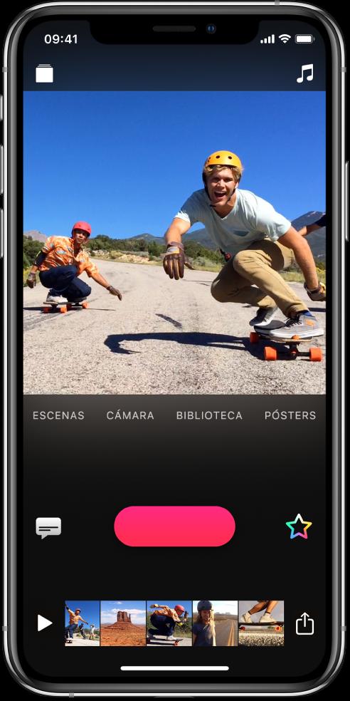 La imagen de un video en el visor con el botónGrabar debajo.