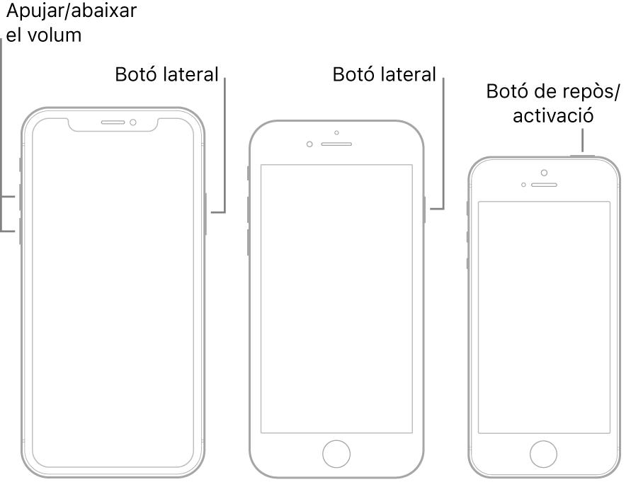 Il·lustracions de tres tipus de models d'iPhone, tots amb la pantalla de cara cap amunt. La il·lustració de l'esquera mostra els botons d'apujar i abaixar el volum a l'esquerra del dispositiu. El botó lateral es troba a la dreta. La il·lustració del mig mostra el botó lateral a la dreta del dispositiu. La il·lustració de la dreta mostra el botó de repòs/activació a la part superior del dispositiu.