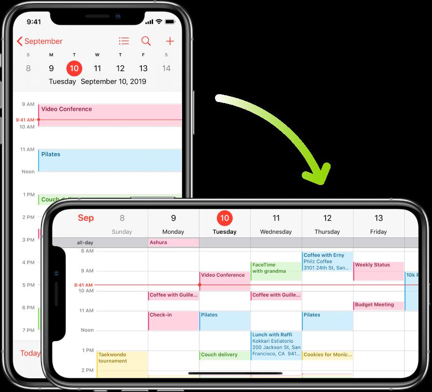 Al fons, l'iPhone mostra una pantalla amb un calendari on apareixen els esdeveniments d'un dia en orientació vertical; en primer pla, l'iPhone es troba en orientació horitzontal i es mostren els esdeveniments del calendari per a tota la setmana, que inclou aquell mateix dia.