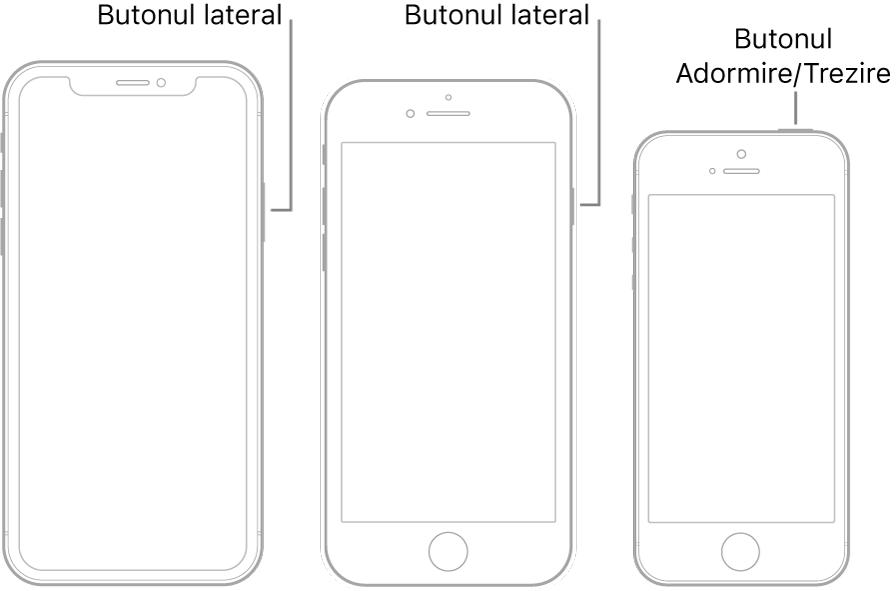 Butonul lateral sau Adormire/Trezire la trei modele diferite de iPhone.