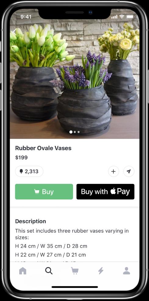 Aplicație afișând un ecran de plată care include butonul Cumpărați cu ApplePay.