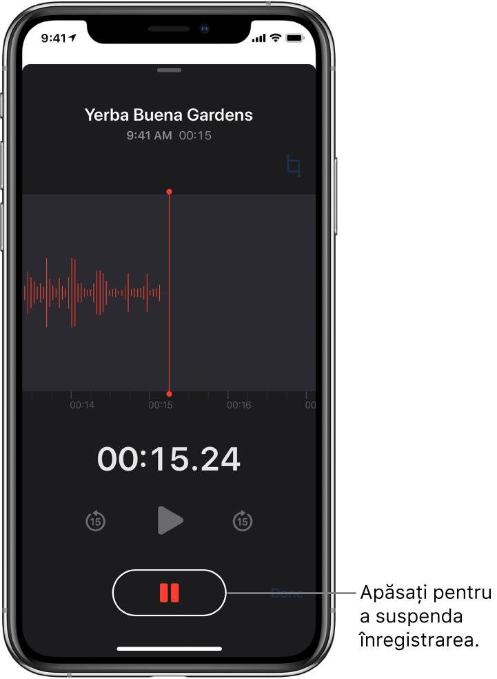 Ecran Reportofon prezentând o înregistrare în desfășurare, cu un buton Suspendați activ și comenzi estompate pentru redare, salt înainte cu 15 secunde și salt înapoi cu 15 secunde. Partea principală a ecranului prezintă forma de undă a înregistrării aflate în desfășurare, alături de un indicator al timpului.