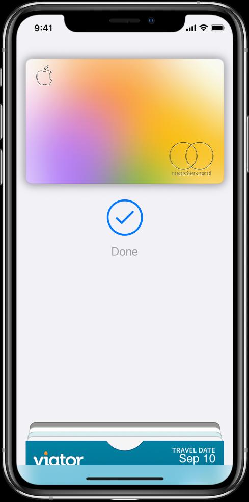 Kreditna kartica na zaslonu »Wallet«. Pod kartico sta kljukica in beseda »Done«.