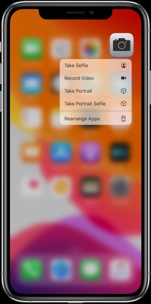 Екран Home је замућен, а испод иконе Camera види се мени за брзе радње у оквиру апликације Camera.