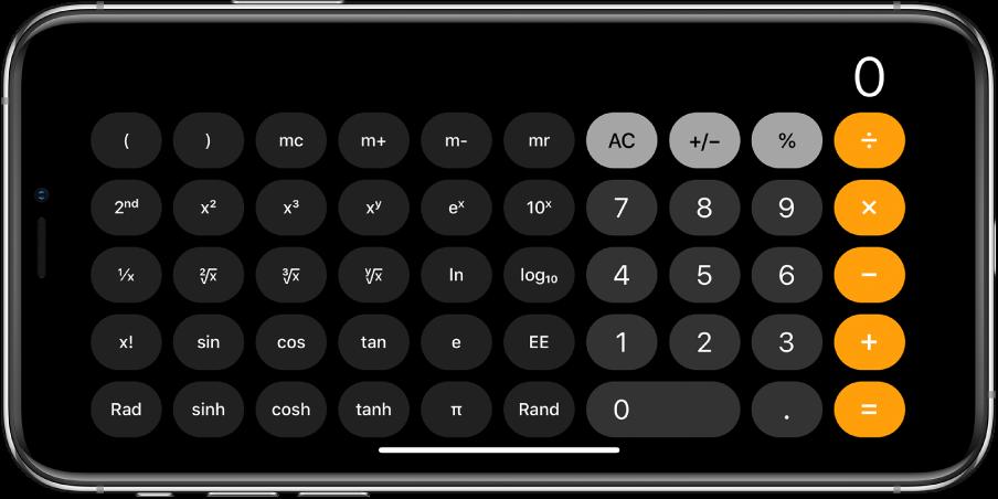 iPhone у хоризонталној оријентацији на коме је приказан научни калкулатор са степенима, логаритамским и тригонометријским функцијама.