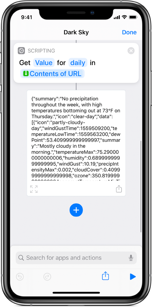 Get Dictionary Value action in the shortcut editor with the key set to daily.