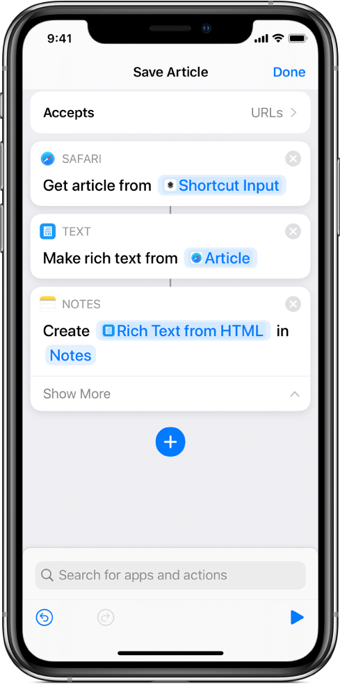 Actions shown in the shortcut editor.