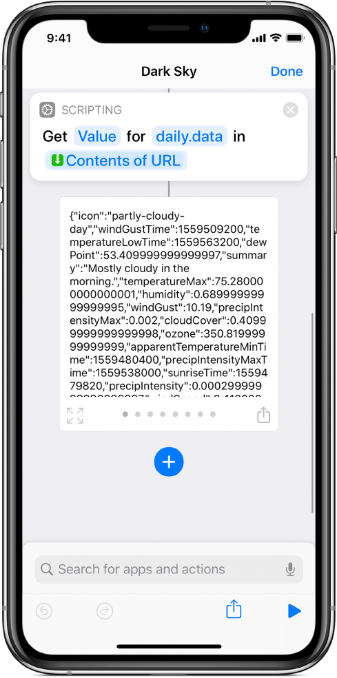 Get Dictionary Value action in the shortcut editor with the key set to data.