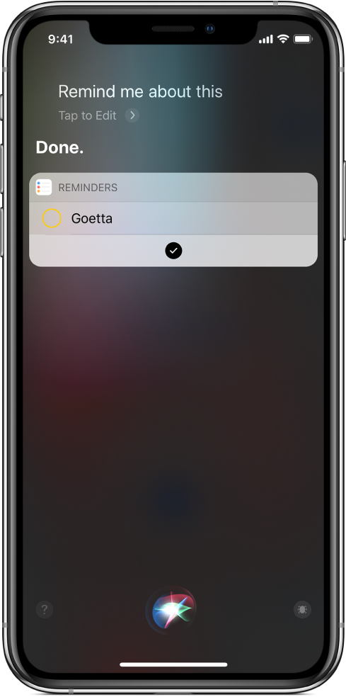 Siri screen showing addition of shortcut to your reminders.