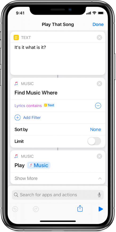 Shortcut containing a Play Music action.