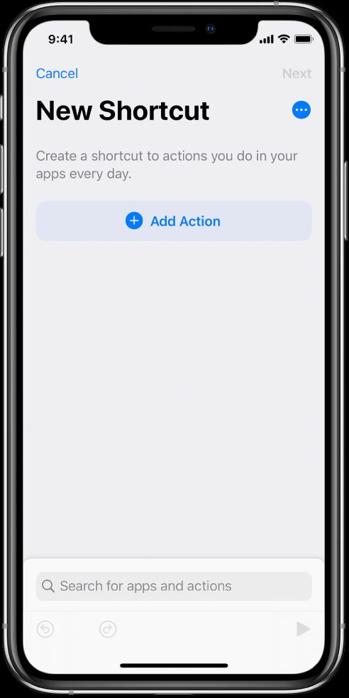 Editor de atajos vacío en un iPhone.