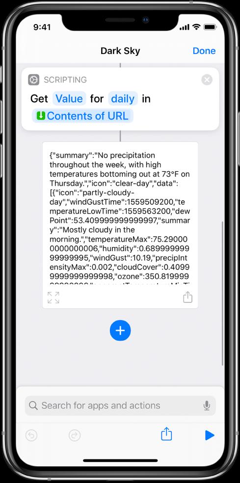 Action Obtenir la valeur du dictionnaire dans l'éditeur de raccourci avec la clé définie sur «daily».