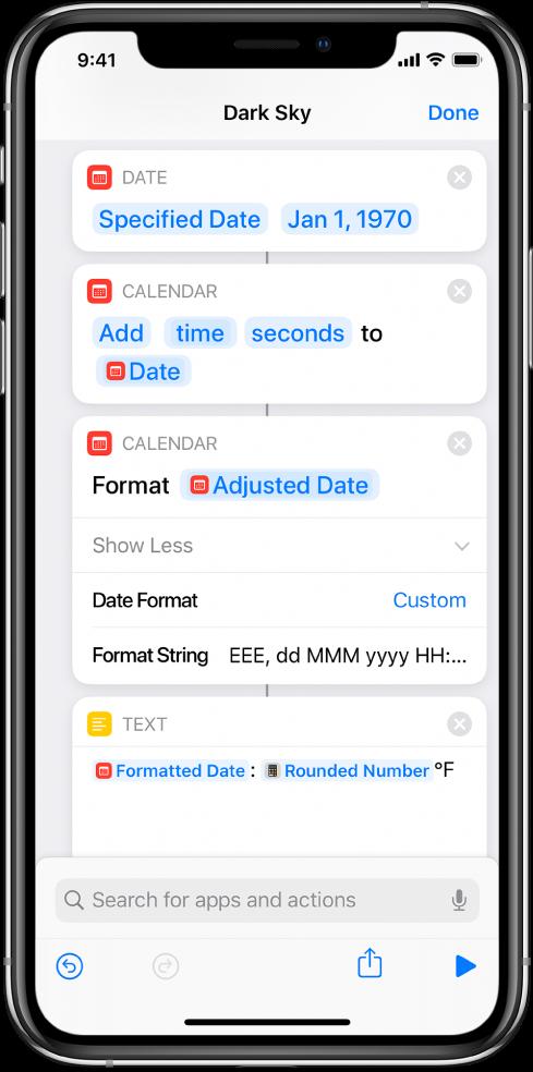 Action Formater la date avec format de chaîne personnalisé dans l'éditeur de raccourci.