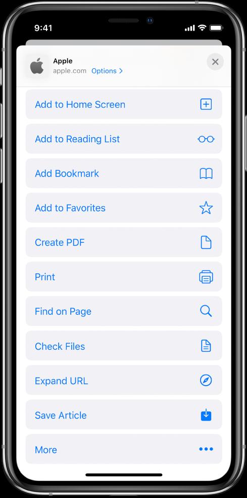 Prečaci u listu dijeljenja aplikacije Safari.