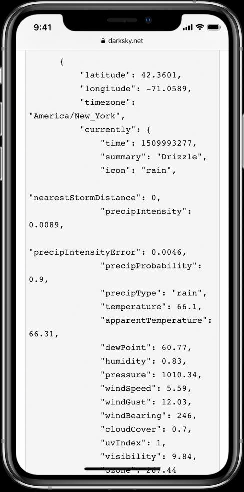 Príklad dát vo formáte JSON.