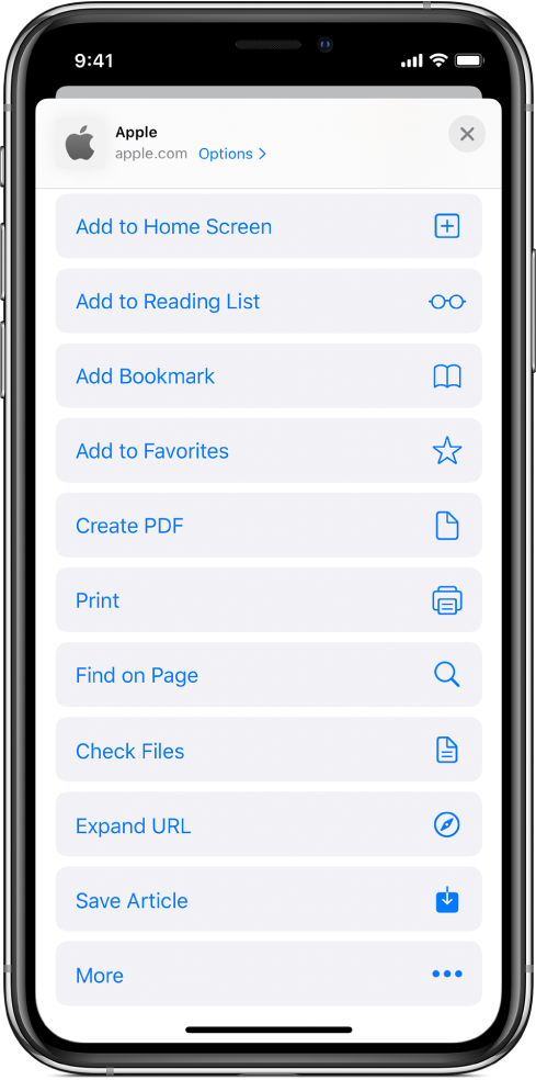Safari 共享工作表中的捷徑。