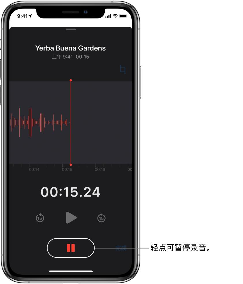 """显示正在进行录音的""""语音备忘录""""屏幕,处于活跃状态的""""暂停""""按钮和变暗的播放、向前跳 15 秒钟和向后跳 15 秒钟控制。屏幕的主要部分显示正在进行的录音波形,以及时间指示器。"""