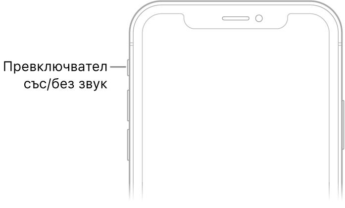 Горната част на предната страна на iPhone с показан превключвател със/без звук.