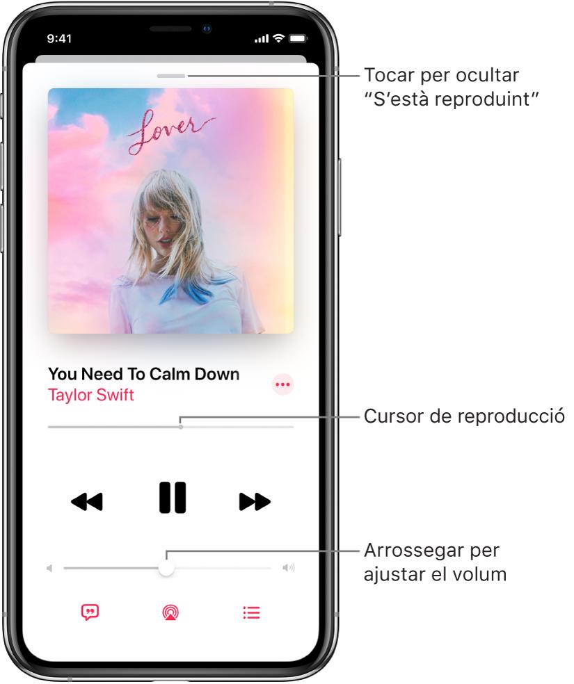 """La pantalla """"S'està reproduint"""" amb la il·lustració de l'àlbum. A sota es troben el títol de la cançó, el nom de l'artista, el botó Més, el cursor de reproducció, els controls de reproducció, el regulador de volum, el botó Lletra, el botó """"Destinació de reproducció"""" i el botó """"A continuació"""". El botó per ocultar """"S'està reproduint"""" es troba a la part superior."""