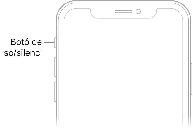 Part superior de la part frontal de l'iPhone amb una crida que assenyala el selector de so/silenci