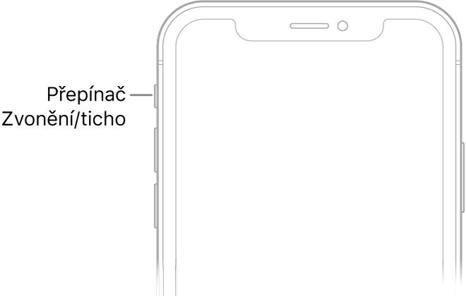 Horní část přední strany iPhonu spopiskem přepínače Zvonění/ticho