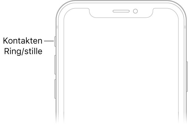 Den øverste del af forsiden på iPhone med en tekst, som peger på knappen Ring/lydløs.