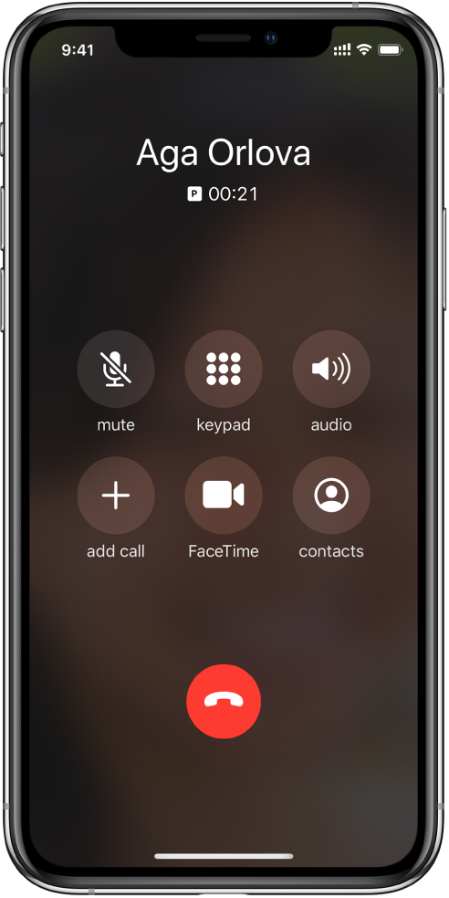 The Phone screen showing buttons for options while you're on a call. In the top row from left to right are the mute, keypad, and speaker buttons. In the bottom row from left to right are the add call, FaceTime, and contacts buttons.