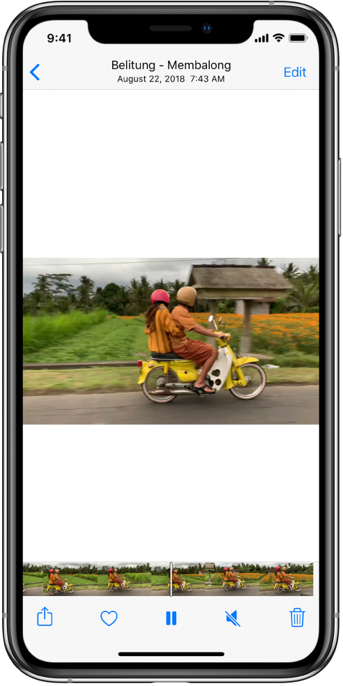 A video player is in the center of the screen. At the bottom of the screen, a frame viewer displays frames from left to right. Below the frame viewer, from left to right, are the Share, Favorite, Pause, Mute, and Delete buttons.