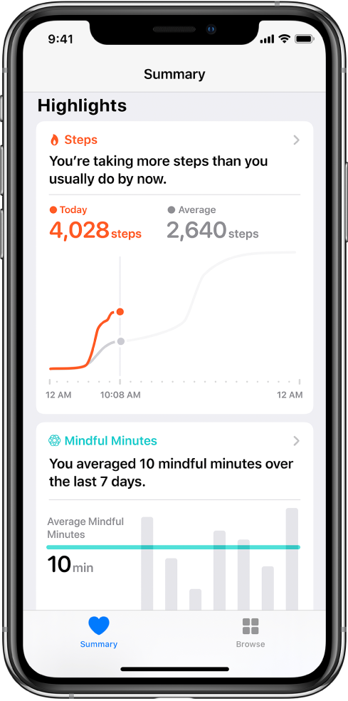"The Summary screen in the Health app showing highlights for steps taken that day. The highlight reads, ""You're taking more steps than you usually do by now."" A chart below the highlight shows 4,028 steps so far today, compared to 2,640 steps for the same time yesterday. Below the chart is information about mindful minutes spent. The Summary button is at the lower left, and the Browse button is at the lower right."