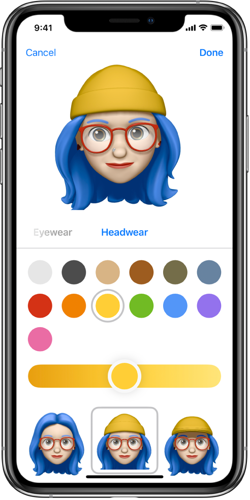 The create Memoji screen, showing the character being created at the top, features to customize below the character, and options for the selected feature at the bottom of the screen. The Done button is at the top right and the Cancel button is at the top left.