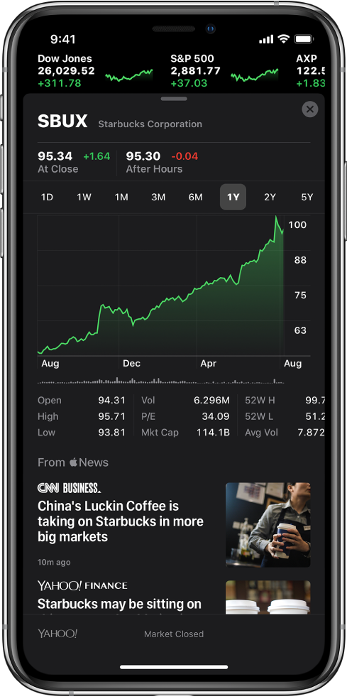 In the middle of the screen a chart shows the performance for a stock over the course of one year. Above the chart are buttons to display the stock performance by one day, one week, one month, three months, six months, one year, two years, or five years. Below the chart are stock details such as opening price, high, low, and market cap. Below the chart are Apple News articles related to stock.