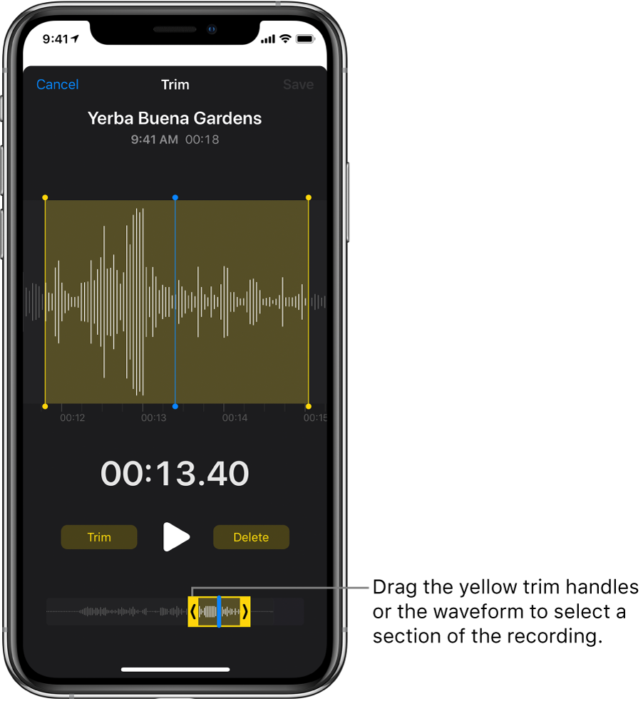 The recording being trimmed, with the trim handles enclosing a portion of the audio waveform at the bottom of the screen. A Play button and a recording timer appear above the waveform. The trim handles are below the Play button.