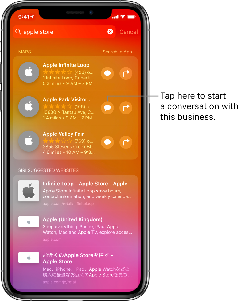The Search screen showing found items for Apple Store in App Store, Maps, and Websites. Each item shows a brief description, rating, or address, and each website shows a URL. The first item shows a button to tap to start a business chat with the Apple Store.