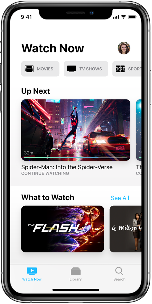 The Watch Now screen showing buttons for Movies, TV Shows, and Sports in the top row. The Up Next row is in the center, above the the What to Watch row. At the bottom, from left to right, are the Watch Now, Library, and Search tabs.