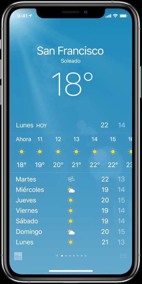 Pantalla Tiempo con la ciudad, condiciones actuales y temperatura actual. Debajo está la previsión meteorológica horaria actual seguida de la previsión para los próximos 5días. Una fila de puntos en la parte central inferior muestra el número de ciudades que tienes.
