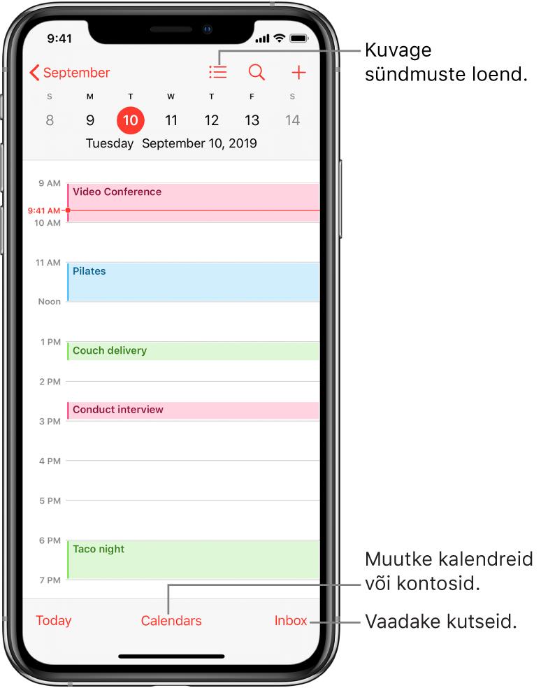 Kalendri päevavaade, kus on toodud päeva sündmused. Kalendrikontode vahetamiseks puudutage ekraani allservas olevat nuppu Calendars. Kutsete kuvatamiseks puudutage all paremal olevat nuppu Inbox.