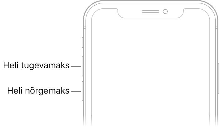 iPhone'i esikülje ülemine osa, mille ülemises vasakus servas on helitugevuse suurendamise ja vähendamise nupud.
