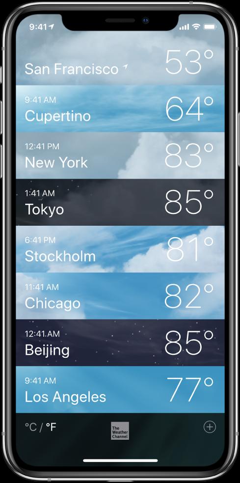 Kaupunkiluettelo, jossa näkyy jokaisen kaupungin aika ja nykyinen lämpötila.