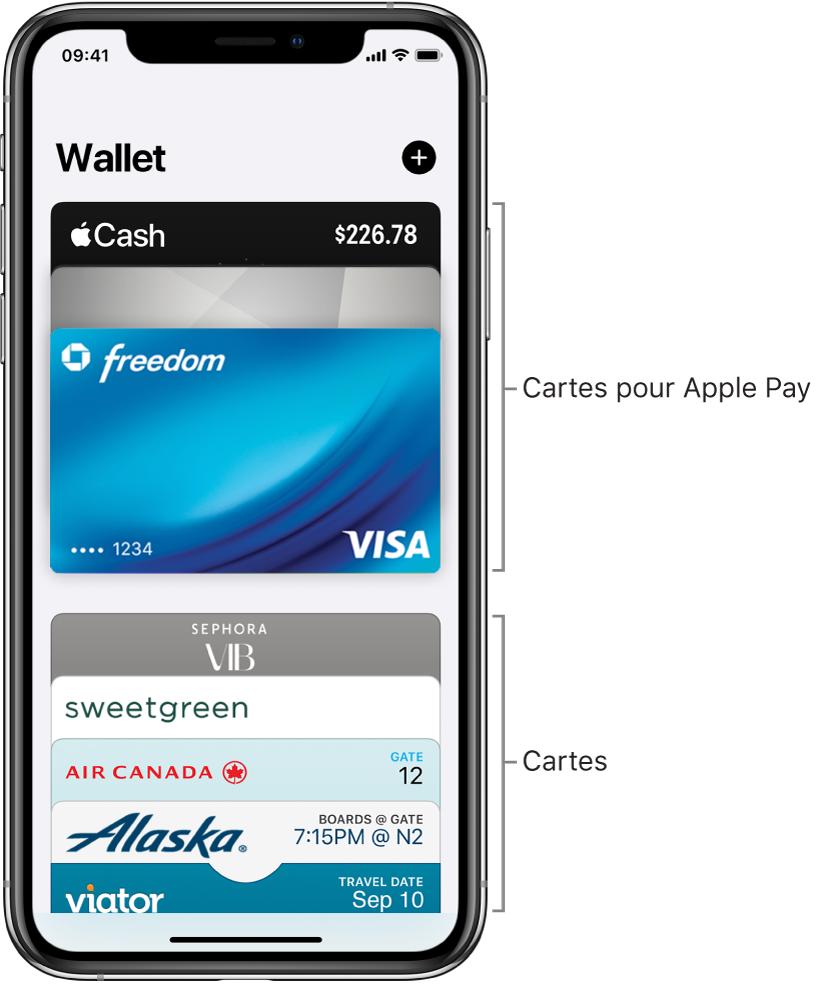 L'écran Wallet affichant le haut de plusieurs cartes bancaires et passes.