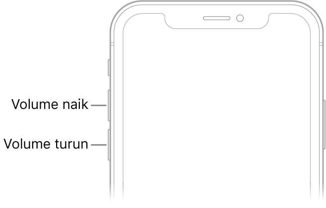 Bagian atas dari bagian depan iPhone dengan tombol volume naik dan volume turun di kiri atas.