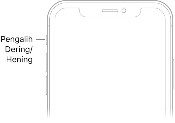 Bagian atas dari bagian depan iPhone dengan keterangan yang menunjuk ke pengalih Dering/Hening.