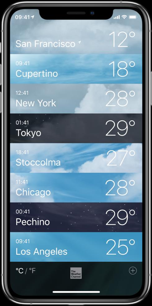 Un elenco di città, che mostra l'ora locale e la temperatura attuale per ciascuna di esse.