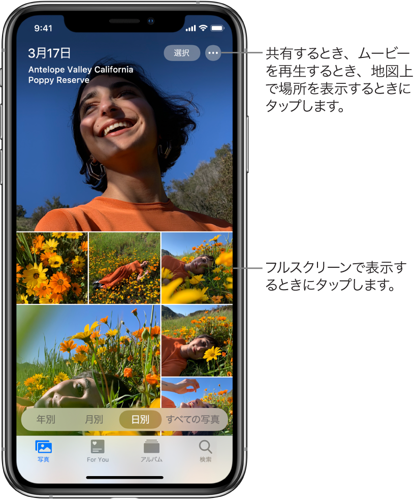 「日別」表示で表示されているフォトライブラリ。日付で選ばれた写真のサムネールが画面いっぱいに表示されています。画面の左上には写真の撮影日と撮影地が表示されています。右上には「選択」ボタンと、写真の共有や詳細の確認を行うためのその他のオプションボタンがあります。サムネールの下には、「年別」、「月別」、「日別」、「すべての写真」というフォトライブラリの表示オプションがあります。下部には、「写真」、「For You」、「アルバム」、および「検索」タブがあります。