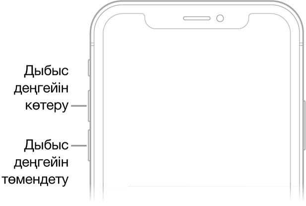 Жоғарғы сол жағында дыбыс деңгейін көтеру және дыбыс деңгейін төмендету түймелері бар iPhone құрылғысының алдыңғы жағының жоғарғы бөлігі.