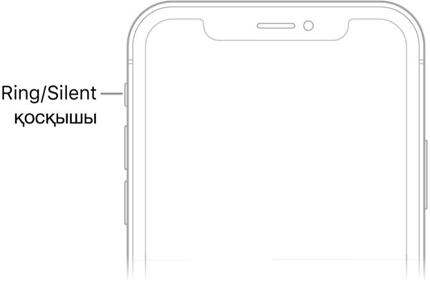 Ring/Silent қосқышын көрсетіп тұрған тілше дерегі бар iPhone құрылғысының алдыңғы жағының жоғарғы бөлігі.