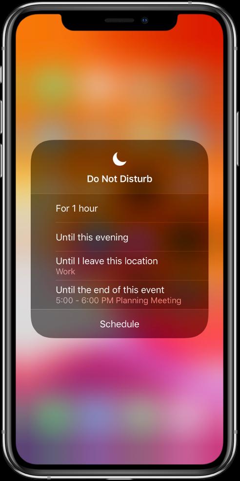 Do Not Disturb параметрін қанша уақытқа қосулы қалдыру керектігін таңдауға арналған экран— параметрлер — For 1 hour, Until this evening, Until I leave this location және Until the end of this event.