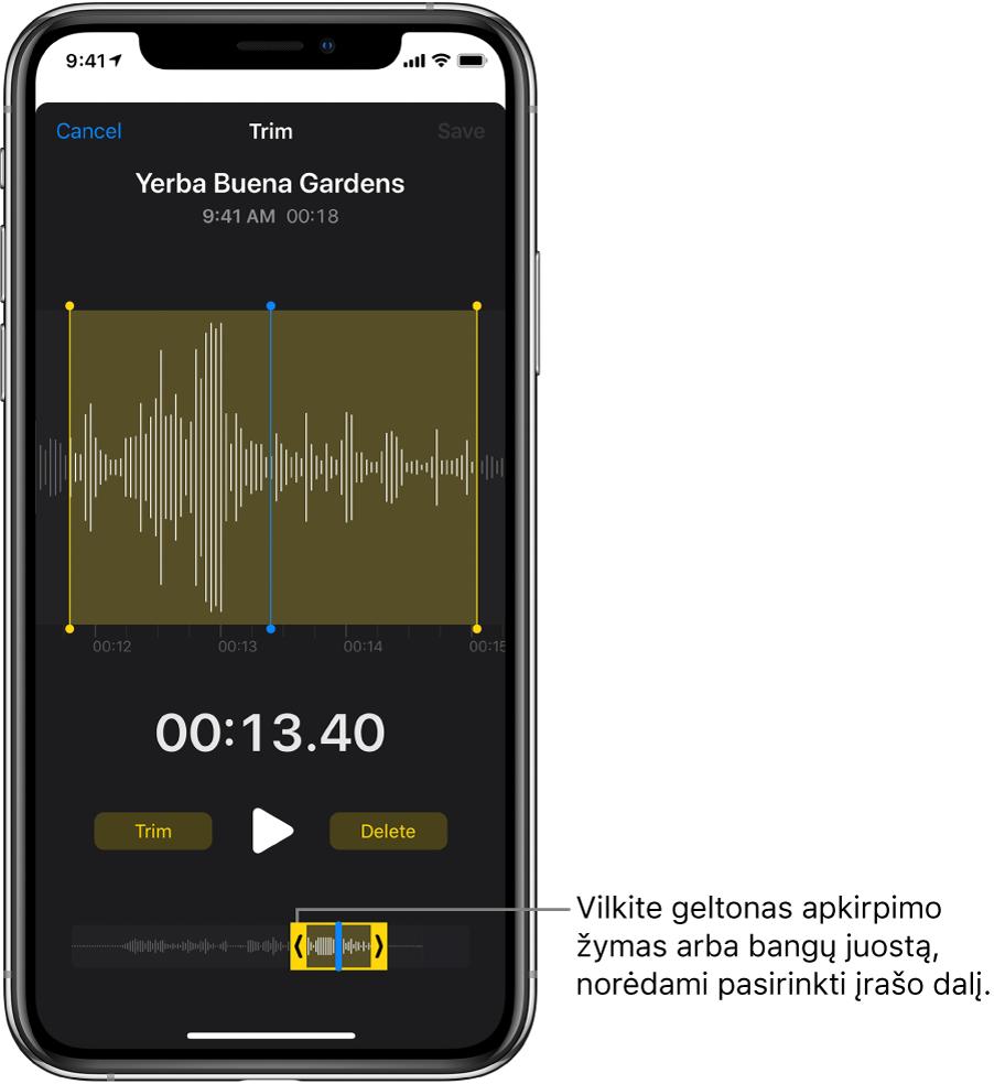 """Įrašas apkarpomas su apkarpymo žymekliais, žyminčiais garso bangos formos dalį ekrano apačioje. Virš bangos formos pasirodo mygtukas """"Play"""" ir įrašymo laikmatis. Apkarpymo žymekliai yra žemiau mygtuko """"Play""""."""