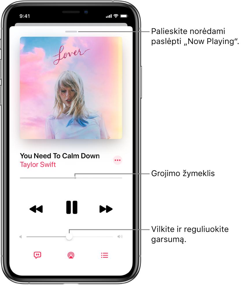 """Ekranas """"Now Playing"""", kuriame rodomas albumo viršelis. Žemiau rodomas dainos pavadinimas, atlikėjo vardas, papildomų parinkčių mygtukas, leidžiamo įrašo vietos žymiklis, atkūrimo valdikliai, garsumo slankiklis, dainos žodžių mygtukas, atkūrimo paskirties vietos mygtukas ir būsimų eilės mygtukas. Mygtukas """"Hide Now Playing"""" yra viršuje."""